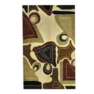 Herat Oriental Indo Hand-tufted Tibetan Multicolor/ Brown Wool Rug (5' x 8')