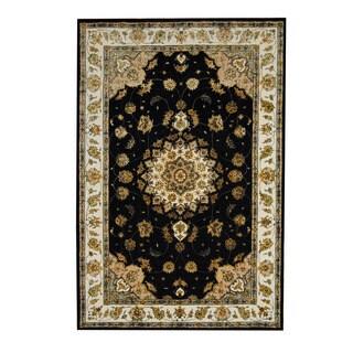 Herat Oriental Indo Hand-tufted Floral Tabriz Black/ Ivory Wool/ Silk Rug (5'10 x 8'9)