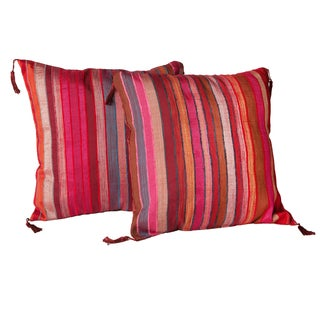 Handloomed 'Moroccan Bazaar' Striped 16-inch Pillow Pair (Morocco)