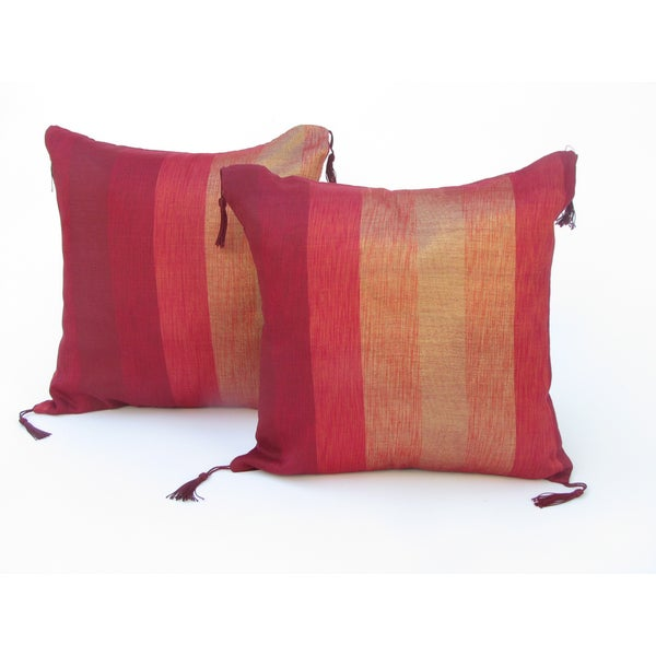 Handloomed Moroccan 'Desert Sunrise' Striped 16-inch Pillow Pair (Morocco)