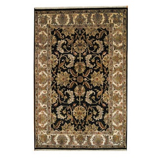 Herat Oriental Indo Hand-knotted Mahal Black/ Ivory Wool Rug (6' x 9'4)
