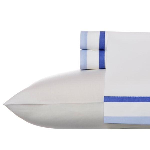 Wedgwood Double Banded Blue Cotton Sheet Set