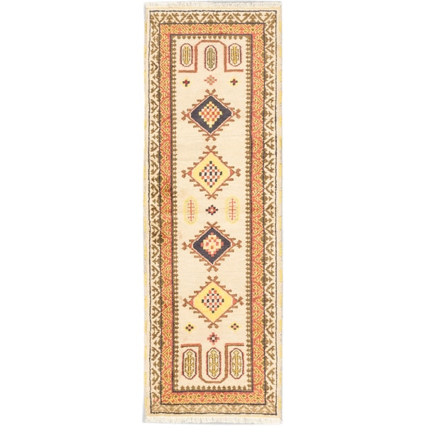 Ecarpetgallery Royal Kazak Light Yellow Wool Geometric Rug Runner (2'9 x 8'3)