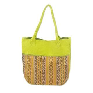Handcrafted Cotton 'Maya Lemon' Tote Handbag (Guatemala)