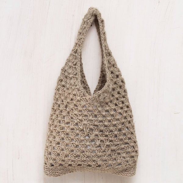 Handcrafted Jute 'Tan Textures' Shoulder Bag (Peru)