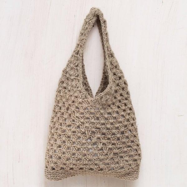 Handcrafted Jute 'Tan Textures' Shoulder Bag (Peru)