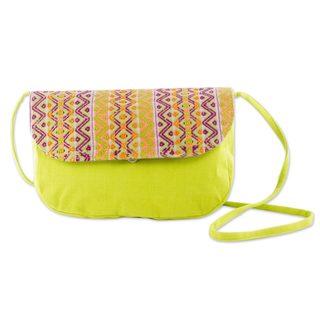 Handcrafted Cotton 'Tropical Whisper' Shoulder Bag (Guatemala)