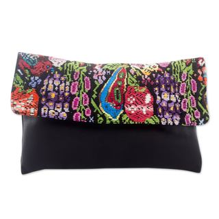 Leather Cotton 'Chichicastenango Colors' Clutch Bag (Guatemala)