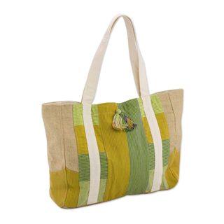 Handcrafted Cotton Jute 'Chiuleu Sunshine' Tote Bag (Guatemala)