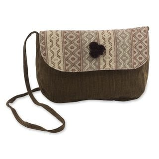 Handcrafted Cotton 'Geometry in Brown' Shoulder Bag (Guatemala)