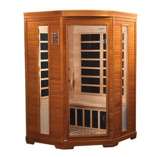Dynamic 2-person Far Infrared Natural Hemlock Wood Corner Sauna Le Mans / DYN-6225-02