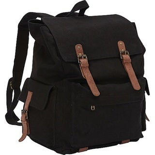 Sharo 17-inch Black Canvas Laptop Backpack with Light Brown Leather Trim