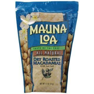 Mauna Loa Dry Roasted Macadamia Nuts 3 Bags 11oz Each