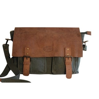 Sharo Hunter Green Canvas and Brown Leather Safari style 16-inch Laptop Messenger Bag