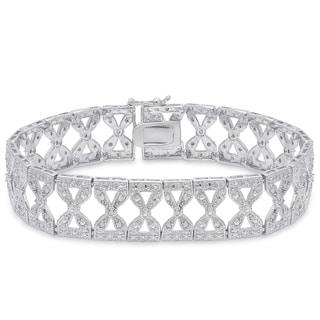Finesque Sterling Silver 1/2ct TDW Diamond Bow Link Bracelet (I-J, I2-I3)