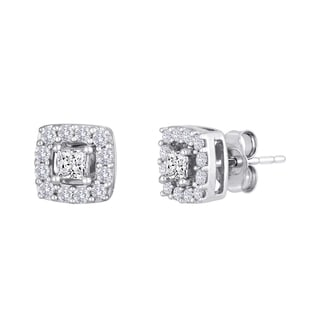 10k White Gold 1/2ct TDW Princess-cut Diamond Frame Stud Earrings