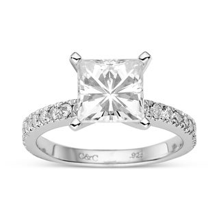 Charles & Colvard Sterling Silver 2.98 TGW Square Brilliant Classic Moissanite Solitaire Fashion Ring
