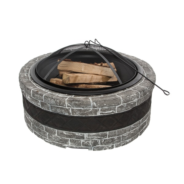 Sun Joe Fire Joe 35-Inch Cast Stone Fire Pit - Charcoal Gray