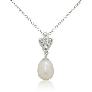 Gioelli Sterling Silver Freshwater Pearl Cubic Zirconia Dangle Necklace (9-10mm)