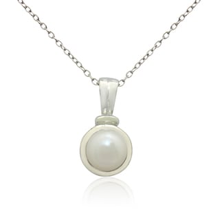 Gioelli Sterling Silver High Polish Freshwater Pearl Necklace (7-8mm)