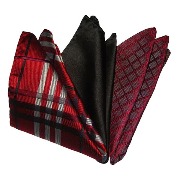 Dmitry Men's Red/ Black/ Burgundy Italian Silk Pocket Squares (Pack of 3)