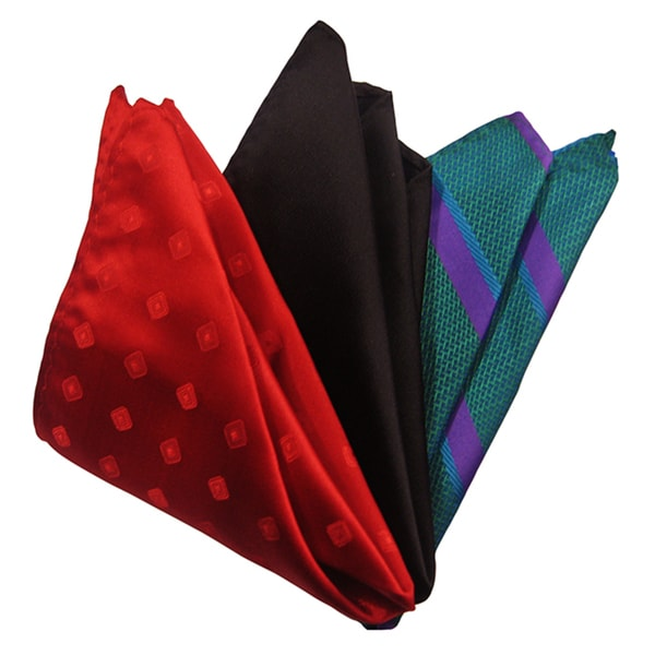 Dmitry Men's Red/ Black/ Teal Italian Silk Pocket Squares (Pack of 3)