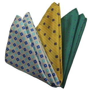 Dmitry Men's Blue/ Yellow/ Green Italian Silk Pocket Squares (Pack of 3)