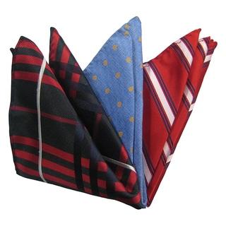 Dmitry Men's Black/ Blue/ Red Italian Silk Pocket Squares (Pack of 3)