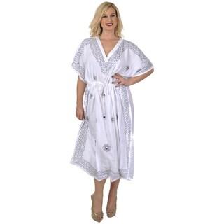 La Leela Women's White Designer Embroidered Plus Size Long V-neck Kaftan