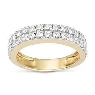 Charles & Colvard Created Moissanite 14k Yellow Gold 2-row Moissanite Melee Ring