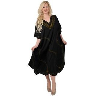 La Leela Women's Designer Plus Size Embroidered Long Kaftan Tunic