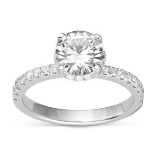 Charles & Colvard Sterling Silver 2.09 TGW Round Classic Moissanite Solitaire Ring with Sidestones