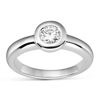 Charles & Colvard Sterling Silver 0.50 TGW Round Classic Moissanite Solitaire Ring