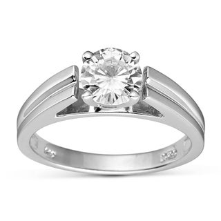 Charles & Colvard Created Moissanite Sterling Silver Round Moissanite Channel Band Ring