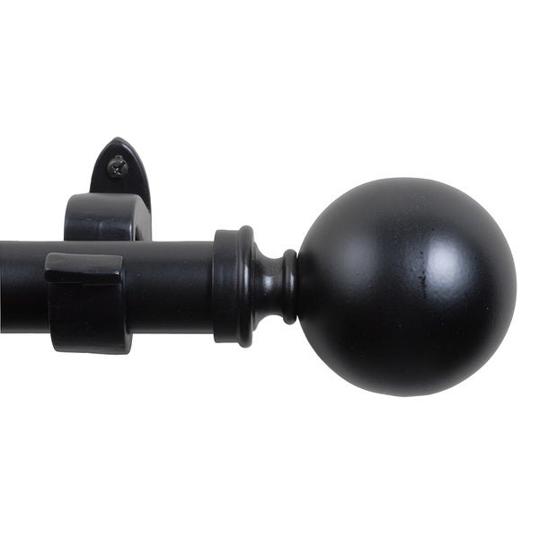 Black Matte Sphere Finial Adustable 36 to 66 inches Curtain Rod
