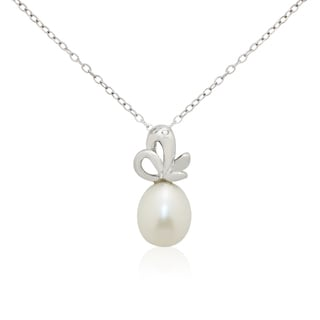 Gioelli Sterling Silver Freshwater Pearl Cubic Zirconia Necklace (10-11mm)