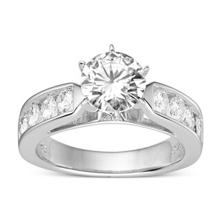 Charles & Colvard Sterling Silver 2.30 TGW Round Classic Moissanite Solitaire Ring with Sidestones