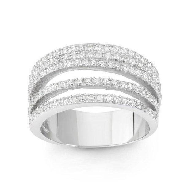 Sterling Silver Cubic Zirconia 5-row Ring
