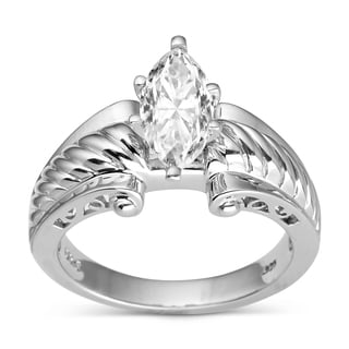 Charles & Colvard Created Moissanite Sterling Silver Classic Marquise Moissanite Ring