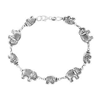 Royal Thai Elephant 3D Link Sterling Silver Bracelet (Thailand)