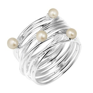 Modern Wavy Wire Natural Pearl Embellished .925 Silver Ring (Thailand)