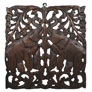 Thai Elephant Calves Hand-carved Teak Wood Wall Art Relief Panel (Thailand)