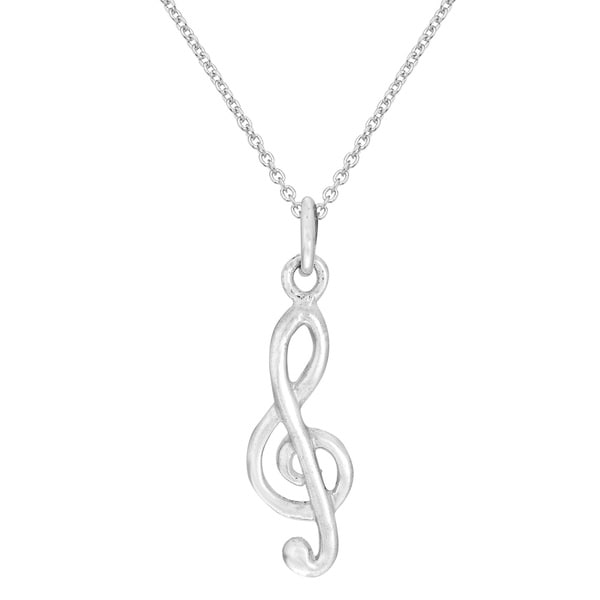 Musical Harmony Treble Clef .925 Sterling Silver Necklace (Thailand)