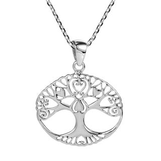 Love Swirl Heart Tree of Life Sterling Silver Necklace (Thailand)