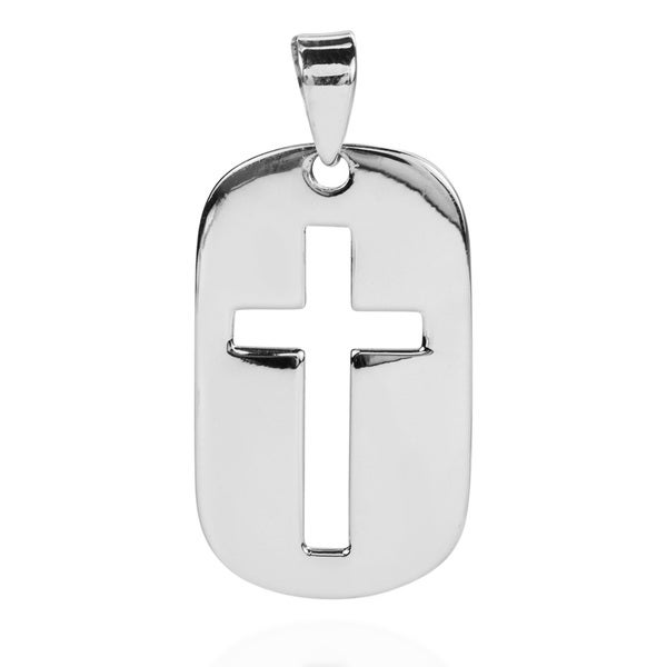 Simple Christian Cross Dog Tag .925 Sterling Silver Pendant (Thailand)
