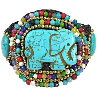Regal Elephant Turquoise and Mix Stone Handmade Bracelet (Thailand)