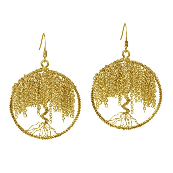 Brass Chain Links Flourishing Tree of Life Dangle Earrings (Thailand)