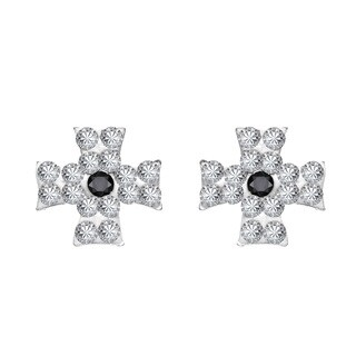 Maltese Cross Cubic Zirconia .925 Silver Stud Earrings (Thailand)