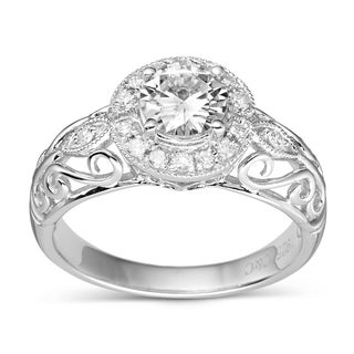 Charles and Colvard Sterling Silver Round Moissanite Carved Band Ring