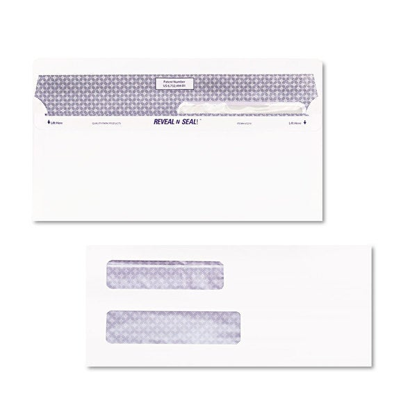Quality Park White Reveal-N-Seal Double Window Check Envelope